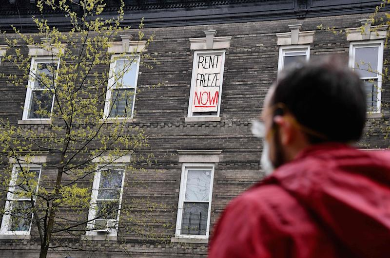 A Crown Heights building tenant stages a rent strike on May 1 in New York City