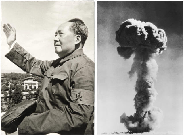 Chairman Mao Zedong, founder of the People's Republic of China in 1963; and, the explosion of the first Chinese atomic bomb, on October 16, 1964. (Photos: Keystone-France/Gamma-Keystone via Getty Images, Universal History Archive/UIG via Getty Images)