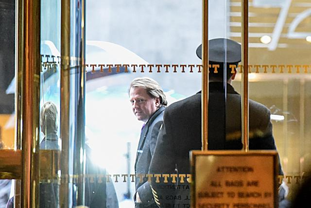 Donald F. McGahn, an American campaign finance lawyer, exits Trump Tower in New York City, Jan. 14, 2017. (Digitally enhanced photo: Stephanie Keith/Reuters)