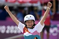 Japan's Momiji Nishiya won the park skateboarding women's gold, becoming the country's youngest Olympic champion