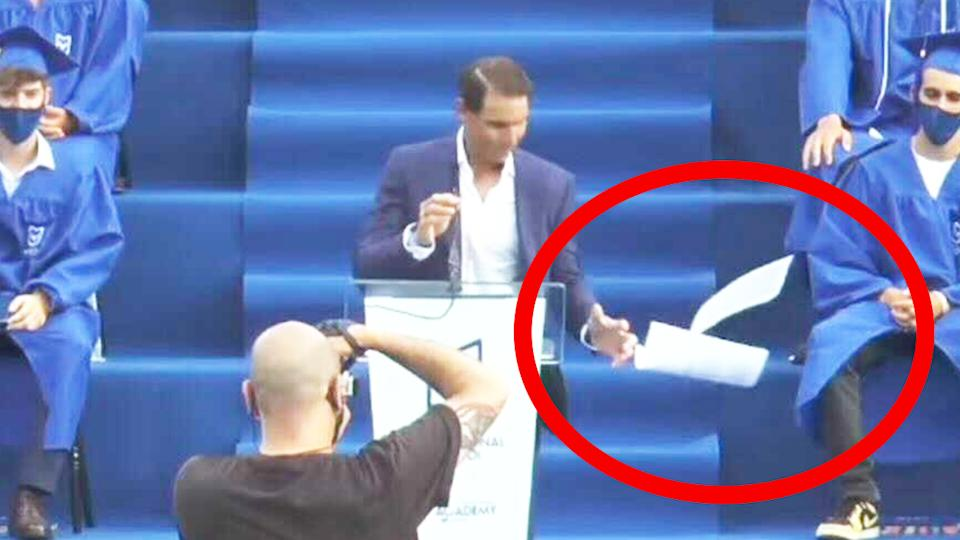 Rafa Nadal's (pictured) loses his pages of his speech at the 'Rafa Nadal Academy' presentation.