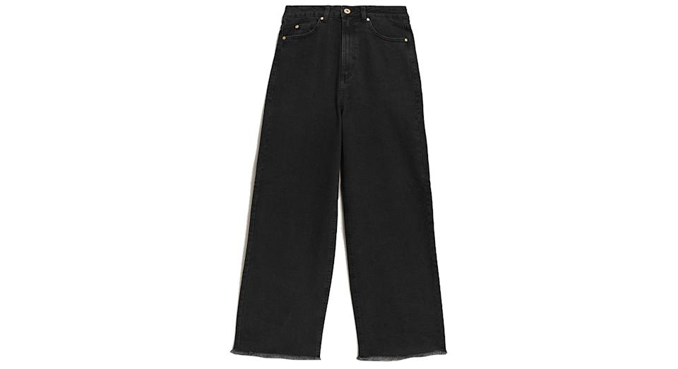 High Waisted Wide Leg Cropped Jeans