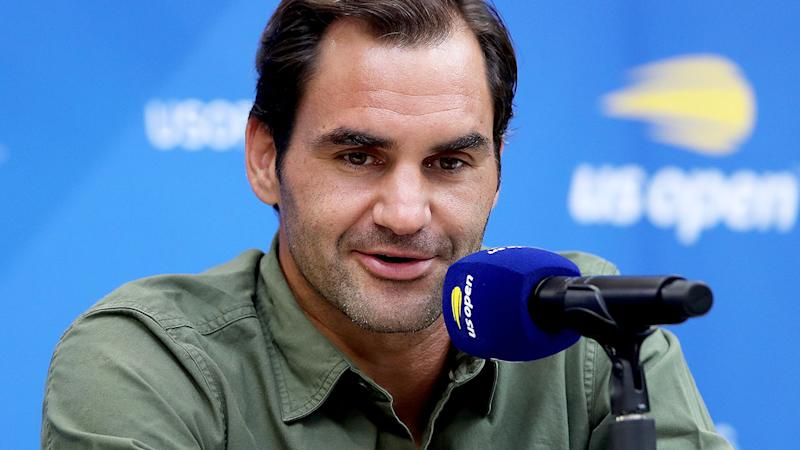 Roger Federer, pictured here talking to the media at the US Open.
