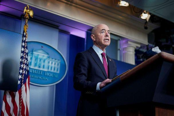PHOTO: Secretary of Homeland Security Alejandro Mayorkas speaks during the daily press briefing at the White House, March 1, 2021. (Drew Angerer/Getty Images)