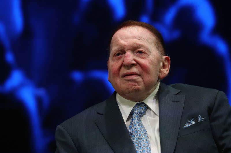 Sheldon Adelson sits onstage before a speech by U.S. President Trump at the Israeli American Council National Summit in Hollywood, Florida