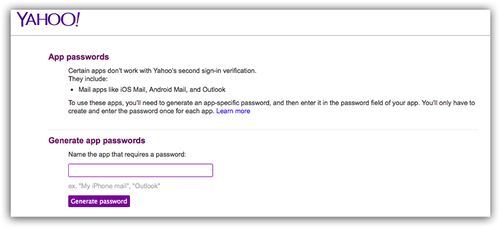 Yahoo Generage password screen