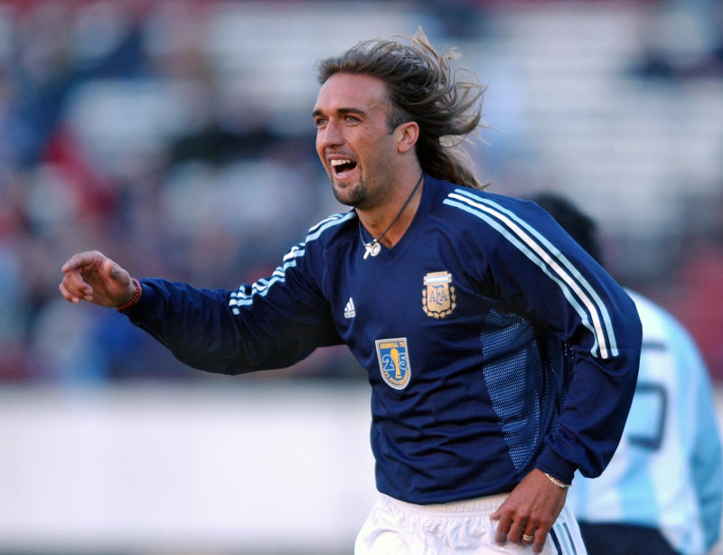 Argentine striker Gabriel Batistuta celebrates a goal during a game played in Buenos Aires, Argentina Wednesday July 9, 2003 to commemorate the 25th anniversary of the World Cup won in 1978. The game was played by retired and current Argentine players. (AP Photo/Daniel Luna)