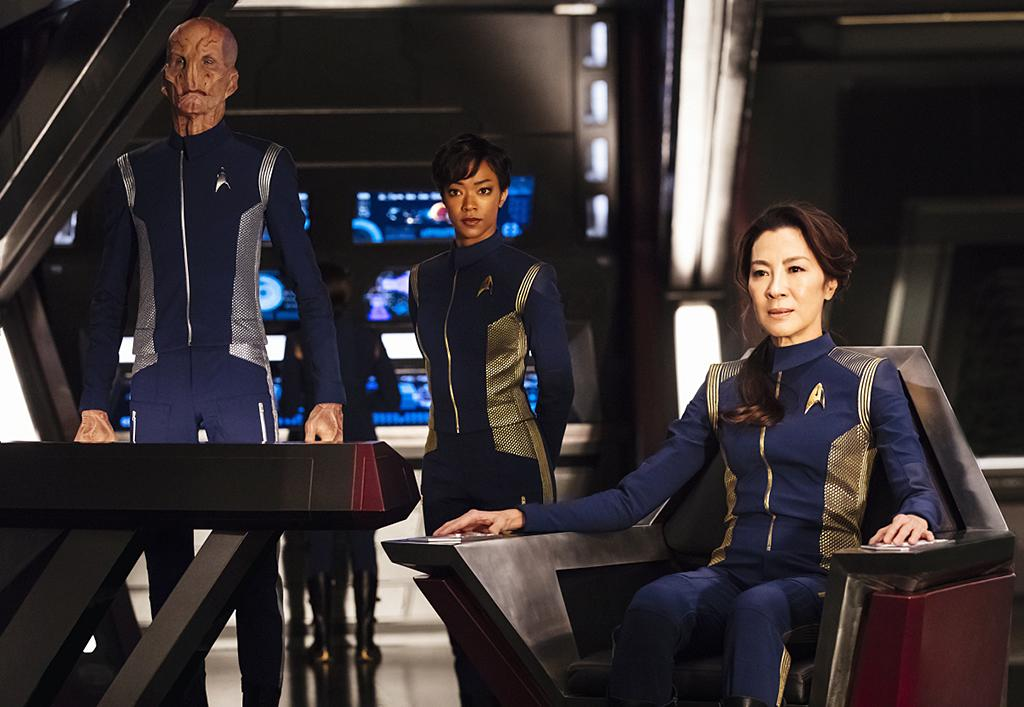 <p>Doug Jones as Lieutenant Saru, Sonequa Martin-Green as First Officer Michael Burnham and Michelle Yeoh as Captain Philippa Georgiou in CBS's <i>Star Trek: Discovery</i>.<br /><br />(Photo: Jan Thijs/CBS) </p>