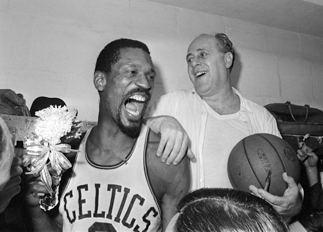 Bill Russell, Red Auerbach and the Celtics won eight straight titles from 1959-66. (AP Photo/File)