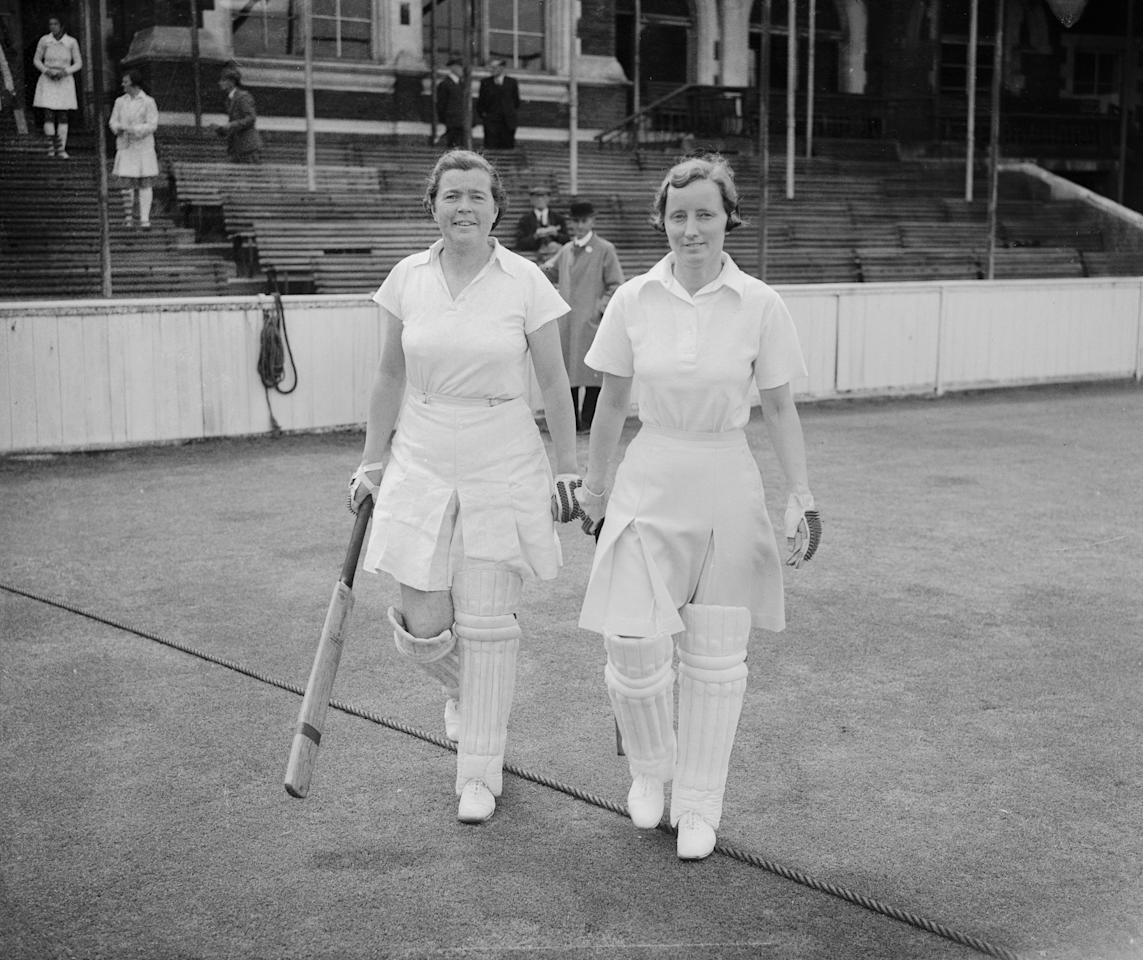 [ICCWWC2013] 20th July 1946:  Miss Myrtle Maclagan (1911 - 1983, left) and Miss Morgan are the opening pair for the Home Counties XI during a match against The Rest at the Oval, the biggest match of the Women's Cricket Association's season.  (Photo by Central Press/Getty Images)