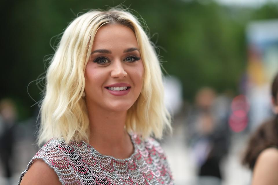 PARIS, FRANCE - JULY 05: Katy Perry is seen, outside Louis Vuitton Parfum hosts dinner at Fondation Louis Vuitton, during Paris Fashion Week - Haute Couture Fall/Winter 2021/2022, on July 05, 2021 in Paris, France. (Photo by Edward Berthelot/Getty Images)