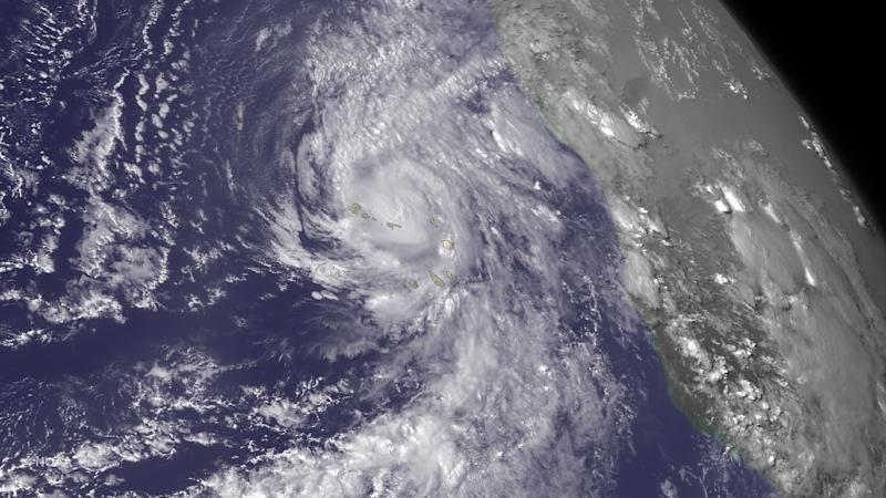 This NOAA satellite image obtained September 1, 2015, taken by GOES East at 1745Z on August 31, shows Hurricane Fred bringing heavy rains to the Cape Verde Islands