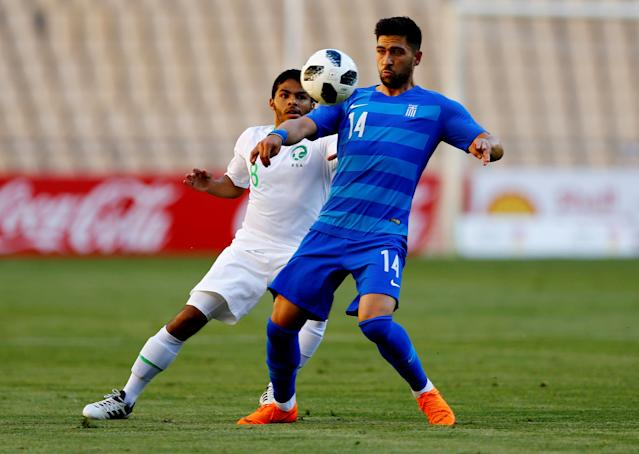 Soccer Football - International Friendly - Saudi Arabia v Greece - Estadio de La Cartuja, Seville, Spain - May 15, 2018 Saudi Arabia's Yahya Al-Shehri in action with Greece's Anastasios Bakasetas REUTERS/Marcelo Del Pozo
