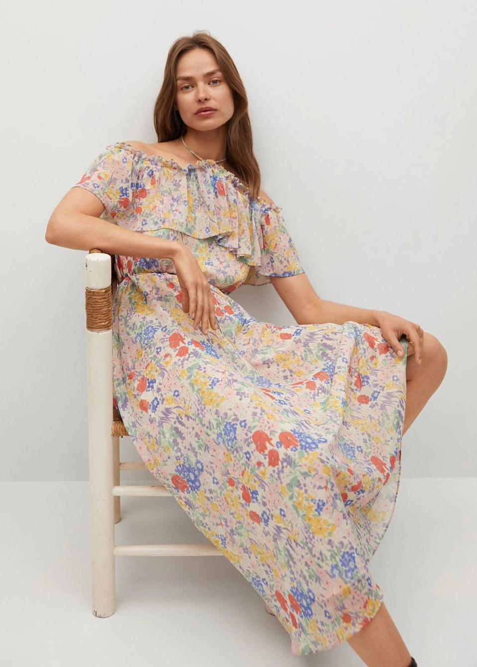 <p>This <span>Mango Ruffled Floral Dress</span> ($100) is a romantic pick for a garden party.</p>