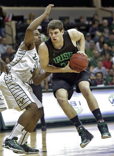 Notre Dame forward Tom Knight (25) jumps as he drives into South Florida forward Zach LeDay (3) during the first half of an NCAA college basketball game Saturday, Jan. 26, 2013, in Tampa, Fla. (AP Photo/Chris O'Meara)