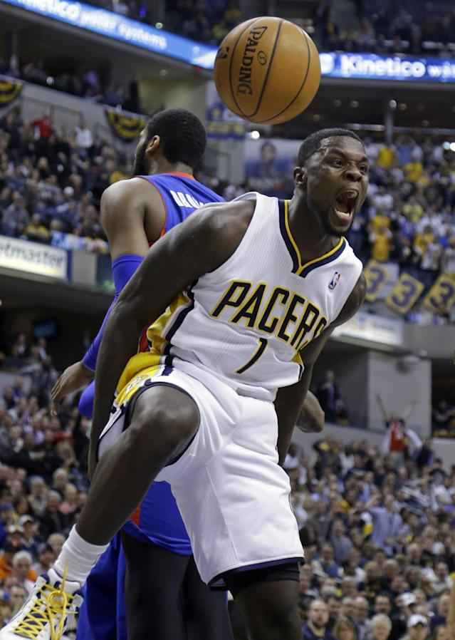 Indiana Pacers guard Lance Stephenson reacts after a dunk against the Detroit Pistons in the second half of an NBA basketball game in Indianapolis, Monday, Dec. 16, 2013. The Pistons defeated the Pacers 101-96. (AP Photo/Michael Conroy)