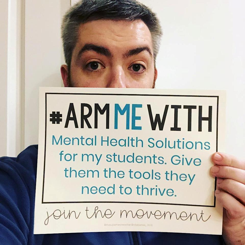 <p>Picture shows one of the teachers that joined the movement #ArmMeWith, in Cleveland, Ohio, Feb. 20, 2018 in this picture obtained from social media. (Photo: courtesy of Instagram/ @MIKEYDTEACH/via Reuters) </p>