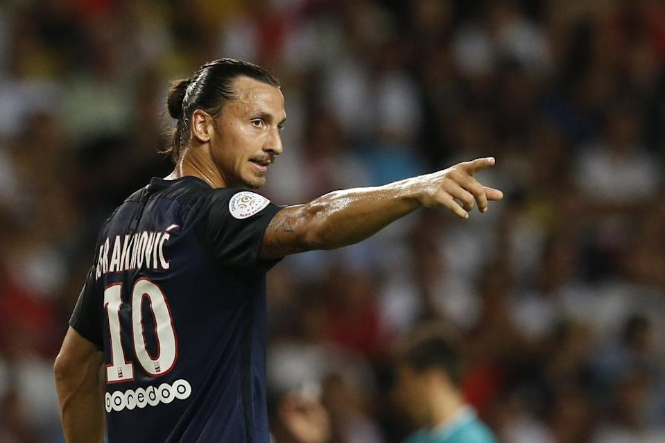 PSG forward Zlatan Ibrahimovic during the Ligue 1 match against Monaco on August 30, 2015 at the Louis II stadium in Monaco (AFP Photo/Valery Hache)