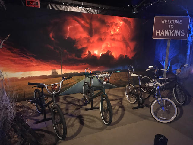 <p>Far away from Hawkins, Indiana, the original Season 1 bikes were also on display.<br><br>(Photo: Giana Mucci/Yahoo) </p>