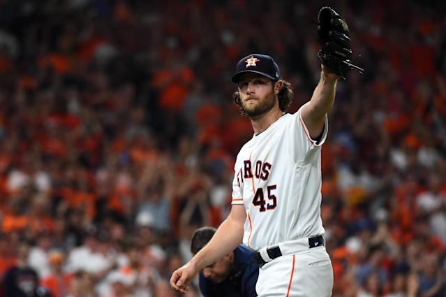 Houston Astros starter Gerrit Cole struck out 15 Tampa Bay Rays hitters in Game 2 of the ALDS as the Astros took a 2-0 series lead. (Photo by Cooper Neill/MLB Photos via Getty Images)