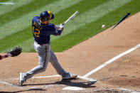 Milwaukee Brewers' Luke Maile breaks his bat on a ground ball out to Philadelphia Phillies' Alec Bohm during the sixth inning of a baseball game, Thursday, May 6, 2021, in Philadelphia. (AP Photo/Derik Hamilton)