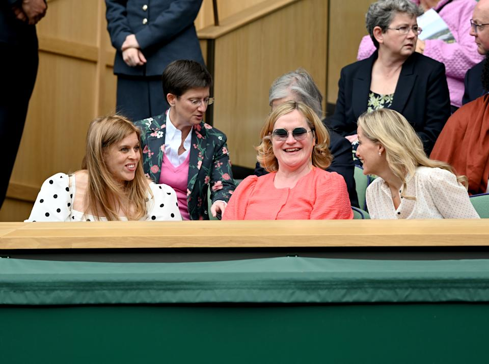 LONDON, ENGLAND - JULY 08: Princess Beatrice, Mrs Edoardo Mapelli Mozzi, Annabelle Galletley and Sophie, Countess of Wessex attend Wimbledon Championships Tennis Tournament at All England Lawn Tennis and Croquet Club on July 08, 2021 in London, England. (Photo by Karwai Tang/WireImage)