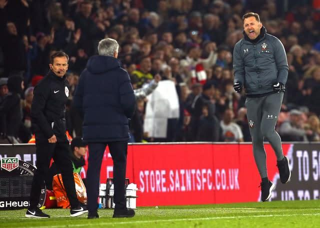 Southampton manager Ralph Hasenhuttl celebrated the victory at full-time (Mark Kerton/PA)