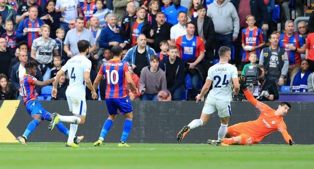 Crystal Palace's Wilfried Zaha scores his side's second goal