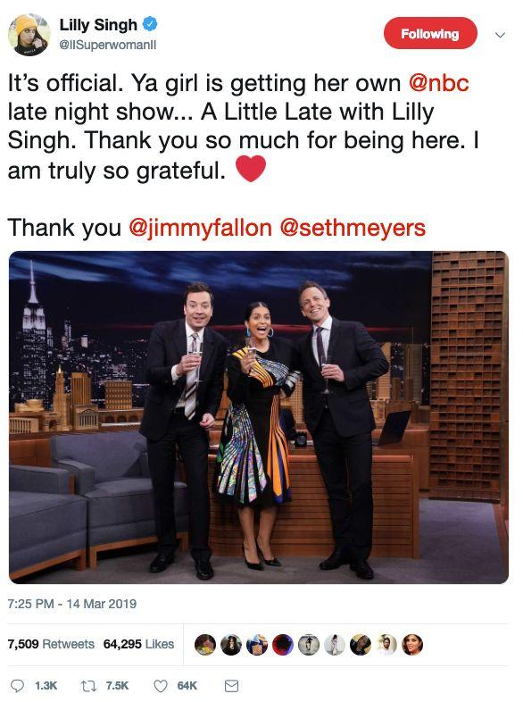 Lilly Singh announces her new gig in a tweet