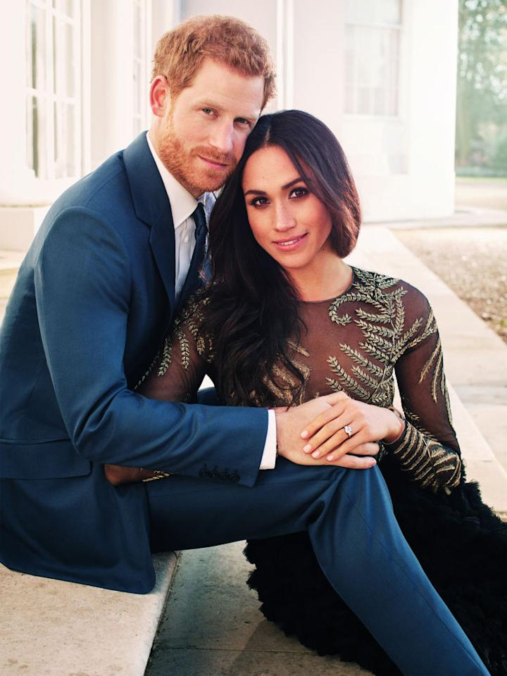 """<p>For the couple's official engagement <a rel=""""nofollow"""" href=""""https://uk.style.yahoo.com/meghan-markle-style-file-inside-150359558/photo-p-her-official-engagement-appearance-photo-151559990.html"""">portraits</a>, Meghan Markle donned a sheer couture gown by Brit label Ralph & Russo. The dress graced the headlines after it was revealed that the hot-off-the-runway look set the actress back a cool £56,000. <em>[Photo: Getty]</em> </p>"""