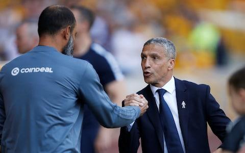 Brighton manager Chris Hughton shakes hands with Wolverhampton Wanderers manager Nuno Espirito Santo before the match - Credit: Reuters