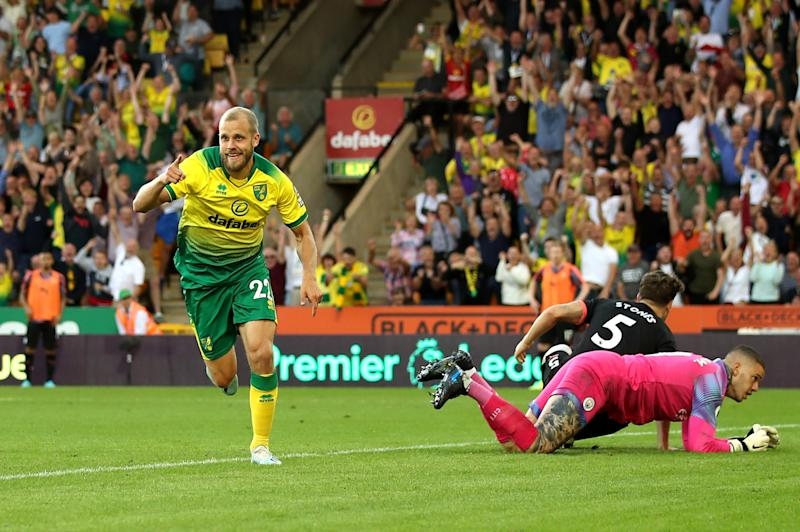 Teemu Pukki of Norwich City celebrates after scoring his team's third goal. (Photo by Marc Atkins/Getty Images)