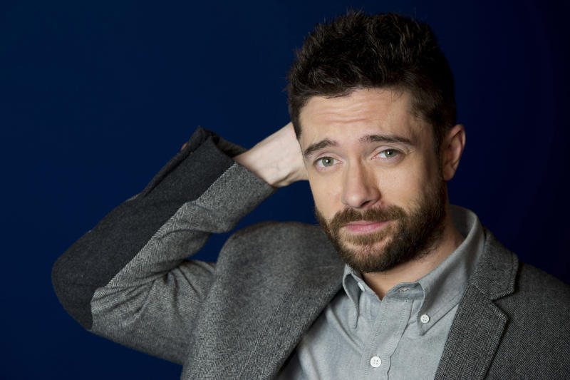 "In this April 16, 2012 photo, actor Topher Grace poses for a portrait in New York. Grace stars in the off Broadway play ""Lonely, I'm Not"" and in an independent film called ""The Giant Mechanical Man."" (AP Photo/Charles Sykes)"