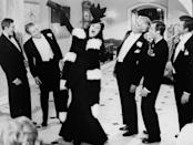 """<p>Belting it out as boozy actress Vera Charles in the film <em>Mame</em>. If you catch the film she sings a fun and brutally honest duet, """"Bosom Buddies,"""" with Lucille Ball. </p>"""
