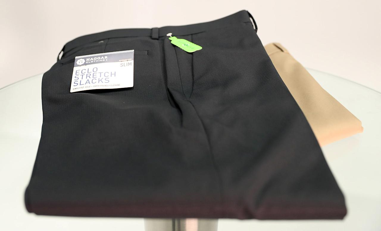 "<p>Haggar may not jump out at you as the sexiest brand, but these slacks have a lot going for them. They're washer-friendly and wrinkle-resistant. They're versatile enough for golf, work, or a nice dinner — after which the hidden expandable waistband might come in handy. Their performance poly fabric is made in part out of recycled plastic bottles, so they have eco cred. And they sell for <a rel=""nofollow"" href=""http://www.haggar.com/mens-eclo-stria-dress-pants/"">$35</a>, which is nice. (Gordon Donovan/Yahoo News) </p>"