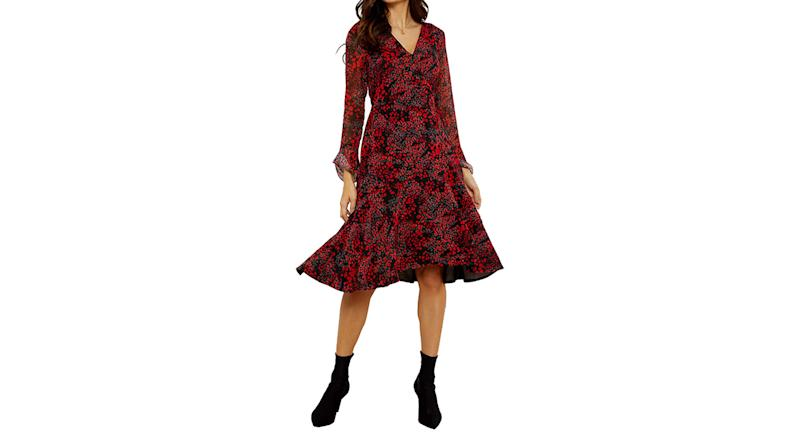 Sosandar Abstract Poppy Print Wrap Dress