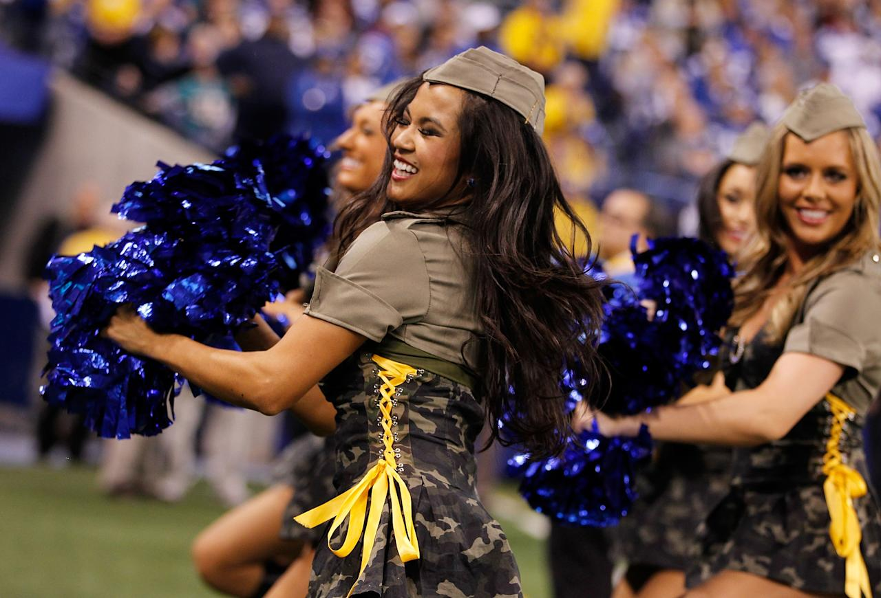 INDIANAPOLIS, IN - NOVEMBER 04: A Indianapolis Colts cheerleader performs during a game against the Miami Dolphins while celebrating the military at Lucas Oil Stadium on November 4, 2012 in Indianapolis, Indiana. (Photo by Gregory Shamus/Getty Images)