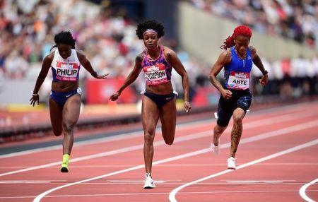 Athletics - London Anniversary Games - London, Britain - July 9, 2017 Jamaica's Elaine Thompson wins the Women's 100m Hurdles final REUTERS/Hannah McKay