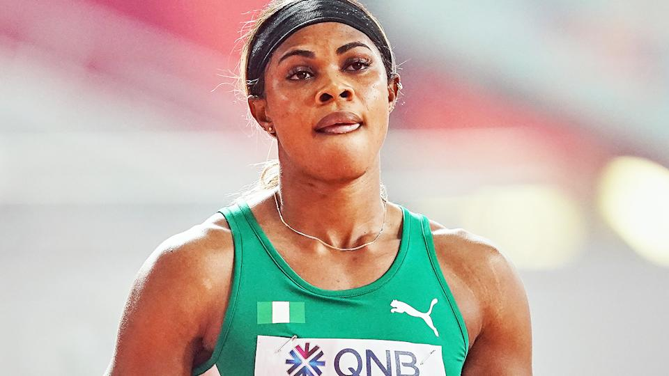 Blessing Okagbare, pictured here in action at the 2019 world championships.