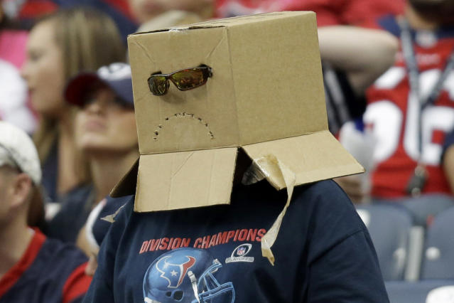 A Houston Texans fan covers his head with a box during the fourth quarter of an NFL football game against the St. Louis Rams Sunday, Oct. 13, 2013, in Houston, Texas. (AP Photo/Eric Gay)