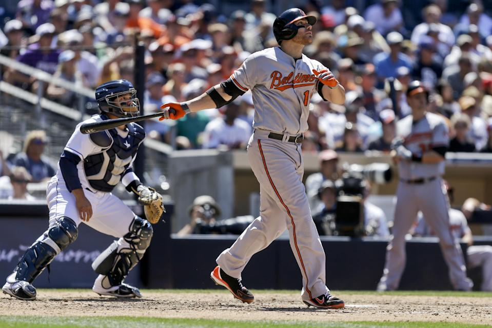 Baltimore Orioles' Chris Davis, front right, and San Diego Padres catcher Rene Rivera watch Davis' three-run home run in the eighth inning of a baseball game in San Diego, Wednesday, Aug. 7, 2013. The home run broke up a tie game. (AP Photo/Lenny Ignelzi)