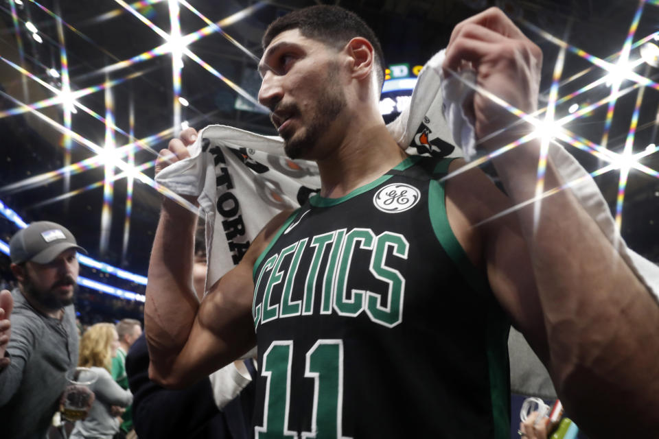 Enes Kanter urged his followers to keep standing for freedom, democracy and human rights while announcing his father's freedom. (AP Photo/Winslow Townson)