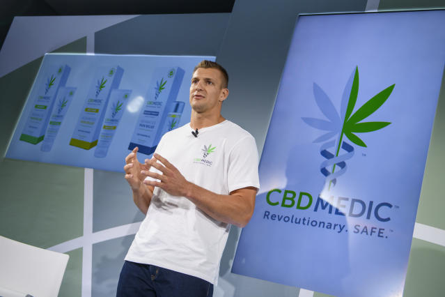Former New England Patriots tight end Rob Gronkowski has become an advocate for CBD use. (AP/Corey Sipkin)