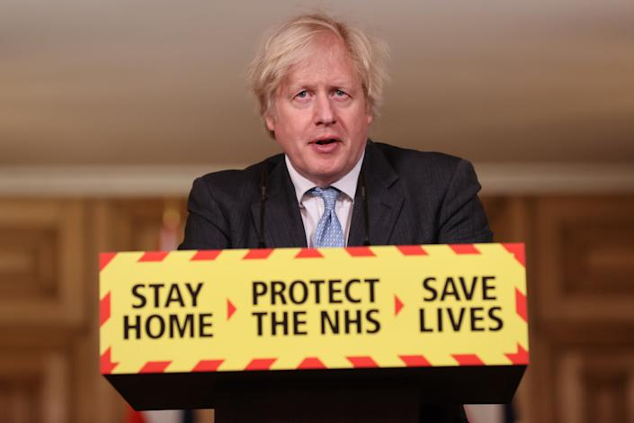 Prime Minister Boris Johnson during a media briefing in Downing Street, London, on coronavirus (COVID-19). Picture date: Wednesday February 10, 2021.