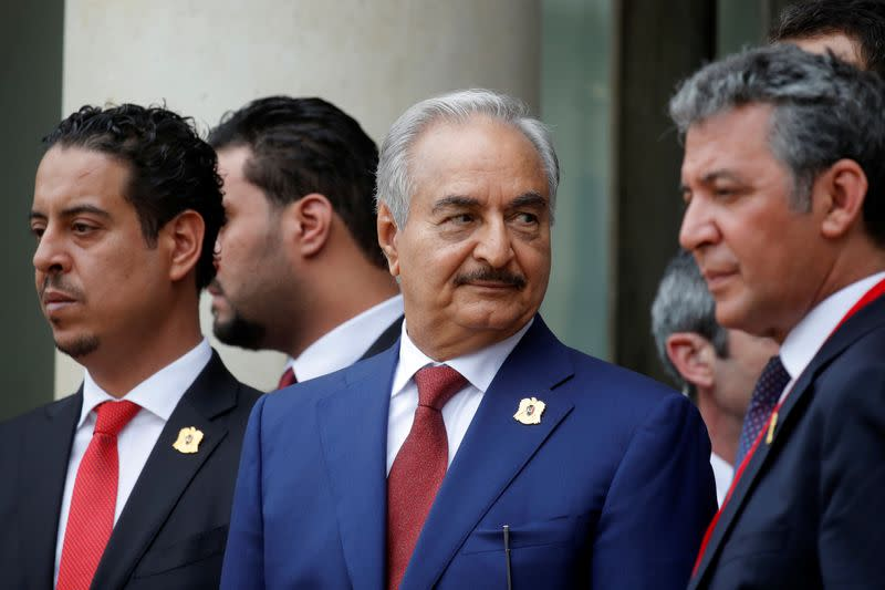 Khalifa Haftar, the military commander who dominates eastern Libya, leaves after an international conference on Libya at the Elysee Palace in Paris