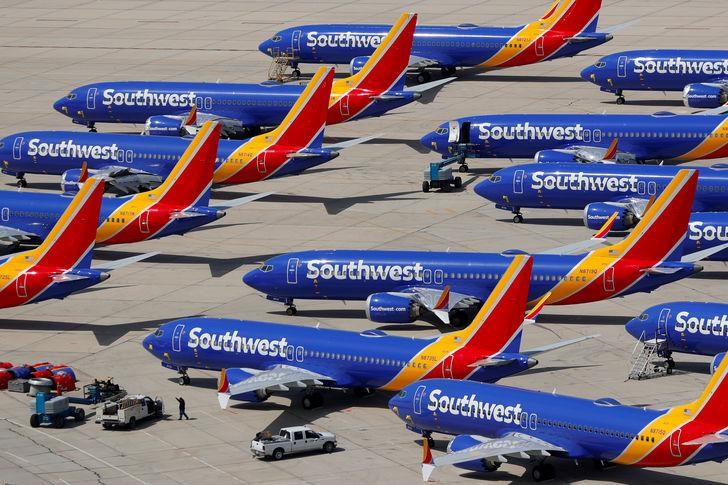 FILE PHOTO: A number of grounded Southwest Airlines Boeing 737 MAX 8 aircraft are shown parked at Victorville Airport in Victorville, California