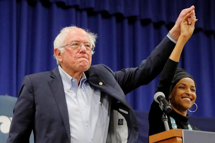 Senator Bernie Sanders, I-Vt., and Rep. Ilhan Omar, D-Minn., at a campaign event in Manchester, N.H. (Photo: Brian Snyder/Reuters)