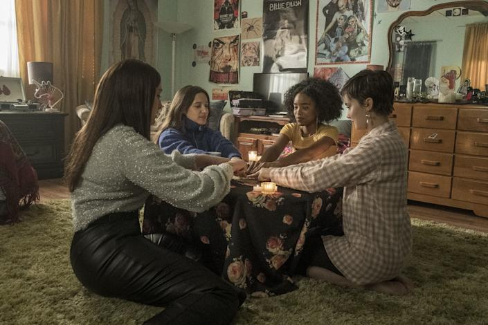 """From left, Zoey Luna, Gideon Adlon, Lovie Simone and Cailee Spaeny in """"The Craft: Legacy."""""""