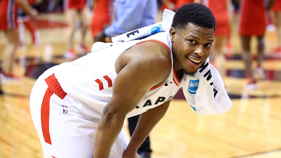 TORONTO, ON - DECEMBER 22:  Kyle Lowry #7 of the Toronto Raptors smiles following the final whistle of an NBA game against the Dallas Mavericks at Scotiabank Arena on December 22, 2019 in Toronto, Canada.  NOTE TO USER: User expressly acknowledges and agrees that, by downloading and or using this photograph, User is consenting to the terms and conditions of the Getty Images License Agreement.  (Photo by Vaughn Ridley/Getty Images)