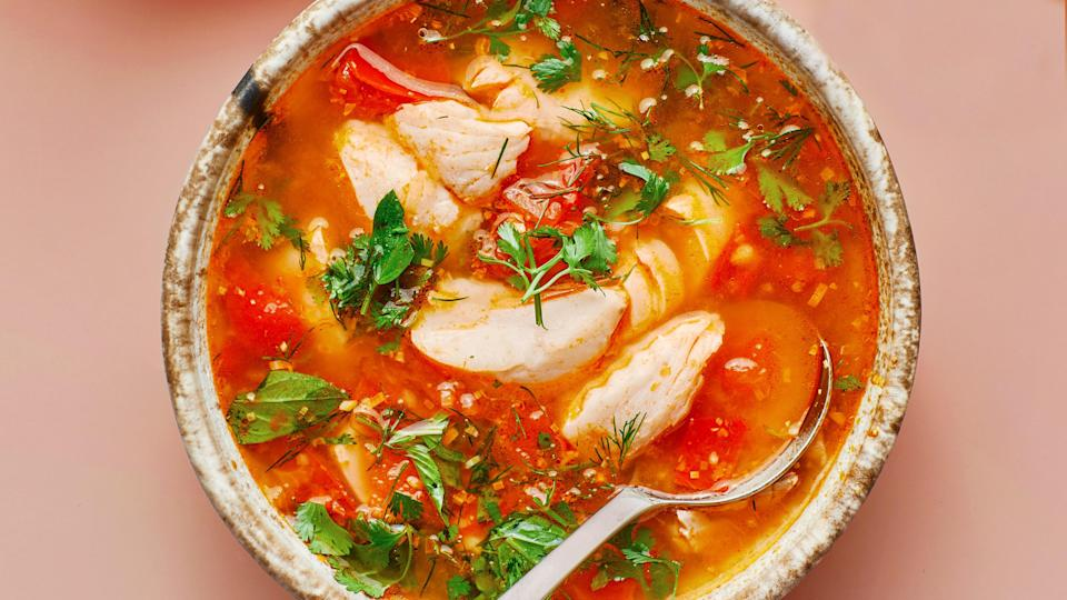 "<a href=""https://www.bonappetit.com/recipe/brothy-tomato-and-fish-soup-with-lime?mbid=synd_yahoo_rss"" rel=""nofollow noopener"" target=""_blank"" data-ylk=""slk:See recipe."" class=""link rapid-noclick-resp"">See recipe.</a>"